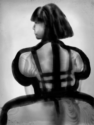 Portrait Of Rei Kawakubo in ink