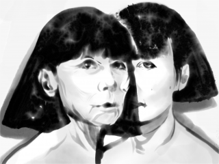 Portrait Of Rei Kawakubo young and old in ink