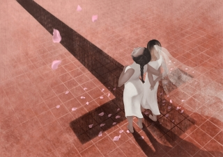 Two women at their wedding day with a shadow of a cross