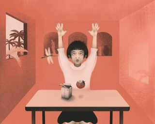 Asian girl at school classroom with hands up as she have lunch and let fall the apple on the desk