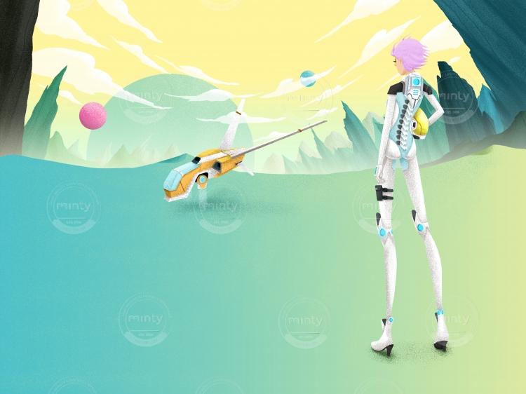 Girl robot and her cyborg