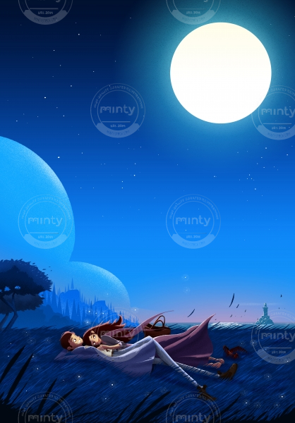 Couple resting in the shine of moonlight