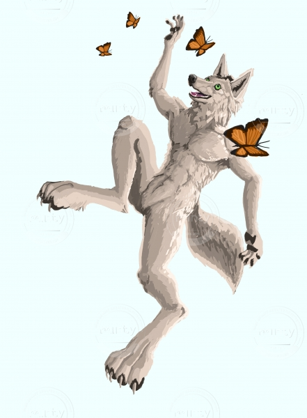Happy wolf playing with butterfies