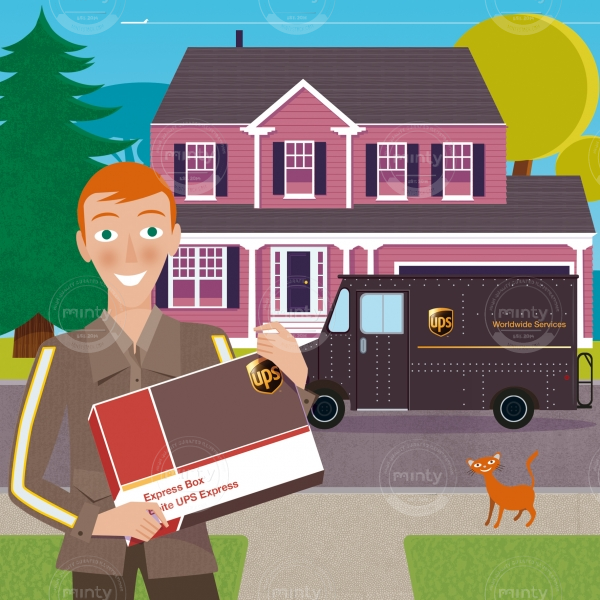 UPS guy delivering a package