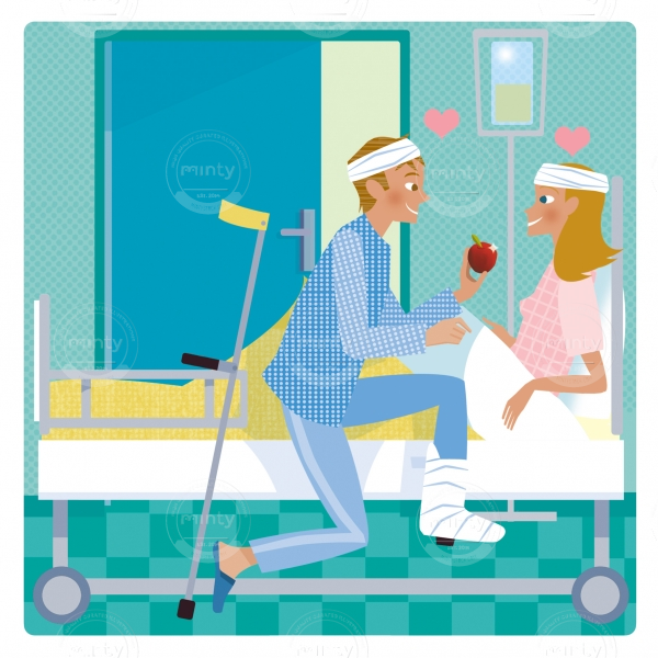 Injured couple in a hospital