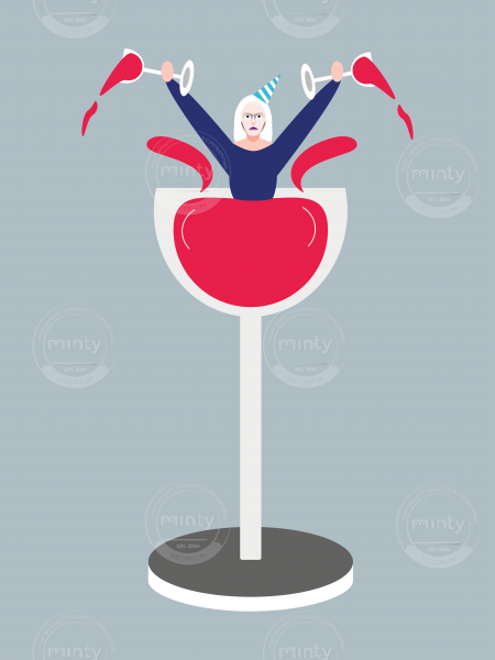 Woman having party in tall glass