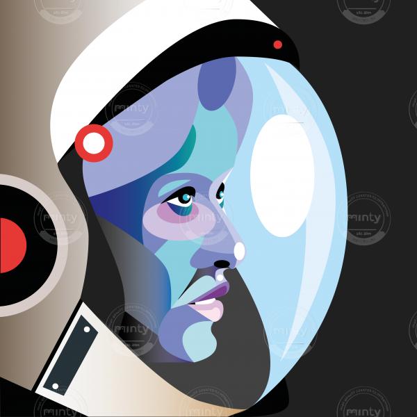 Astronaut woman wearing space helmet looking