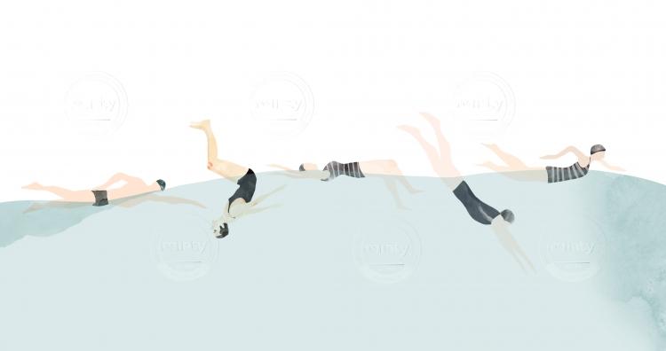 Women swimming in sea