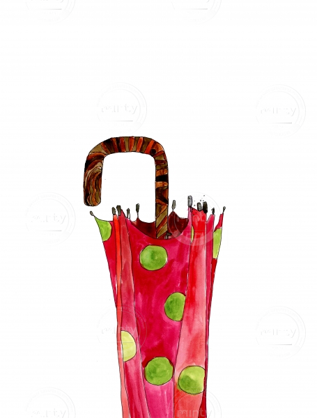 Red closed umbrella with green dots