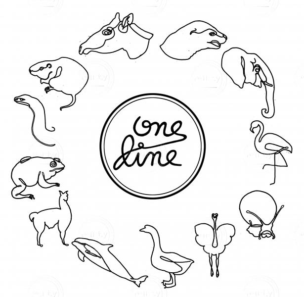 One line animals