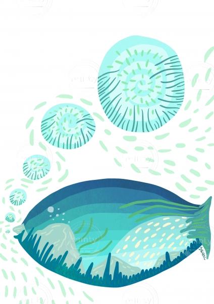 Blue fish in white sea
