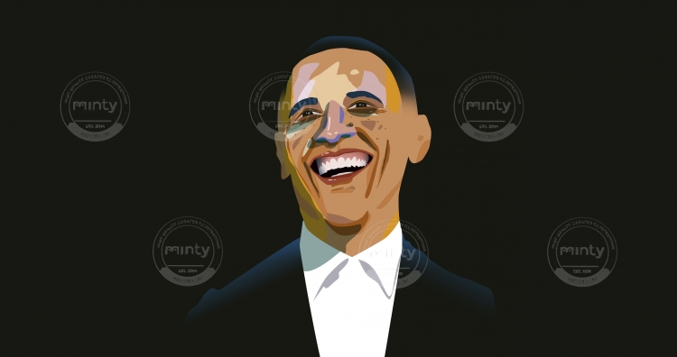 Barak Obama laughing