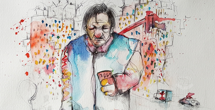 Alcoholic man walking in the city drinking