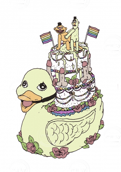 A parody of a cake for gay males showing bert and ernie shagging