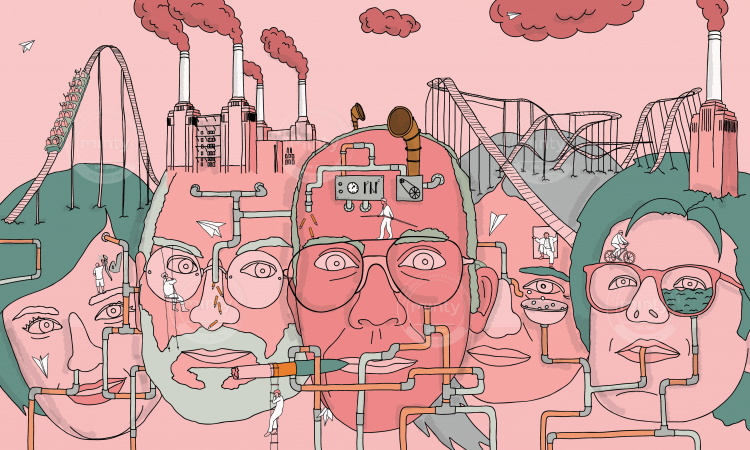 Factory and pipes on human heads