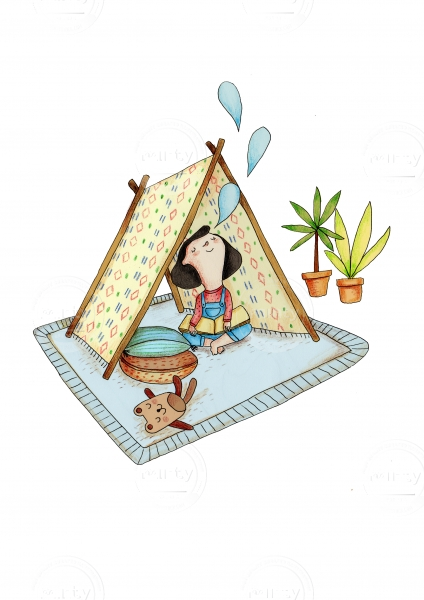 Small girl playing and reading a book under the teepee