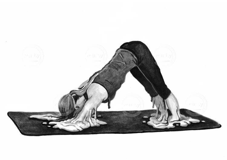 Woman melting into a downward dog yoga position