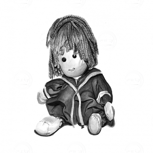 Children's soft doll sitting down and smiling
