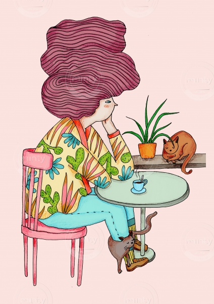 Woman sitting in coffee place with cats