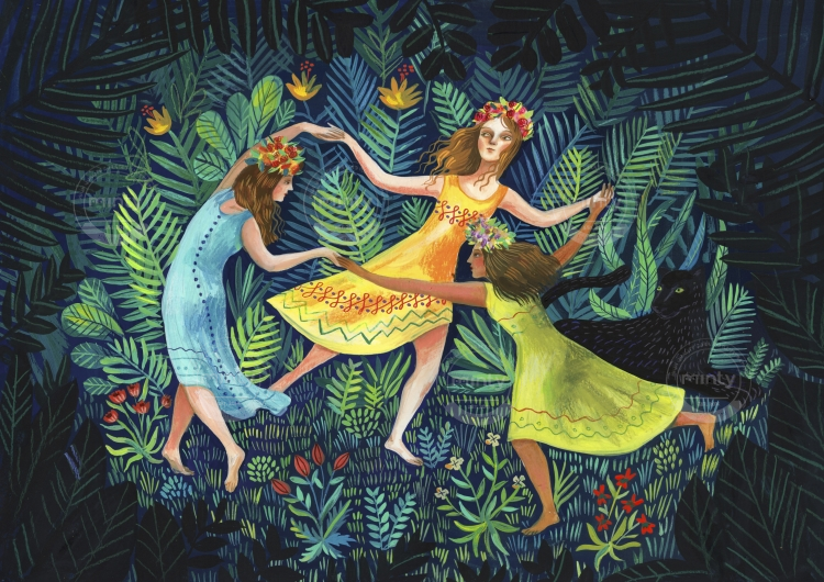 Fairies dancing in the deep forest