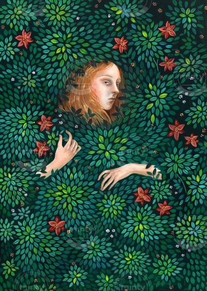 Dark forest girl vanishing in bush of flowers