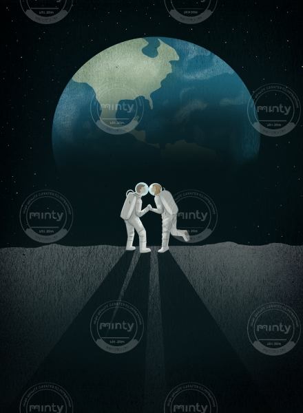 Astro love - a couple of astronaut kissing  on the moon in front of the shape of the heart in a cosmic night