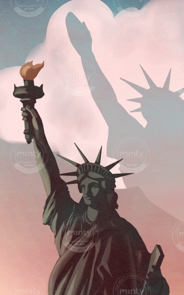 What's happen to America- The Liberty statue reveal a shadow in the sky of a nazi salute, abut the racist movement going on in USA