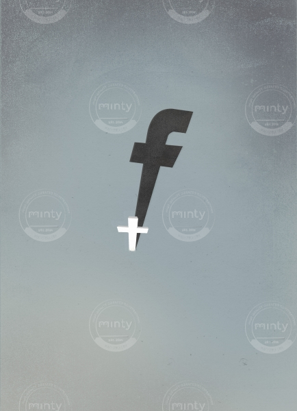 The death of privacy- Cross projecting the shadow of the  fb  logo meaning the end of the privacy