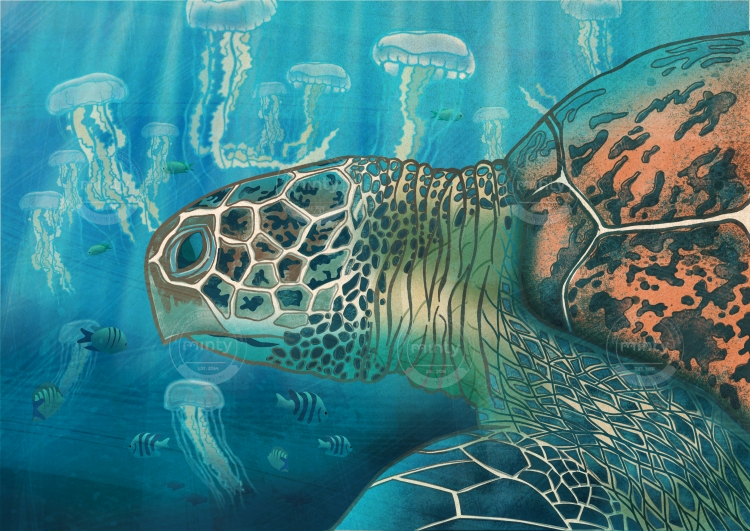 Green back turtle swimming with jellyfish
