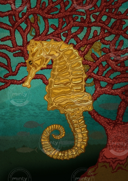 Seahorses and coral in the ocean