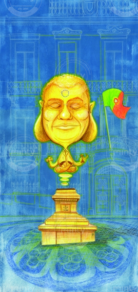 The Portuguese Prime Minister hovering in Chiado, Lisbon, as a Golden Buddha.