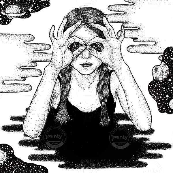 Girl with braids and black top looking with starry universe background