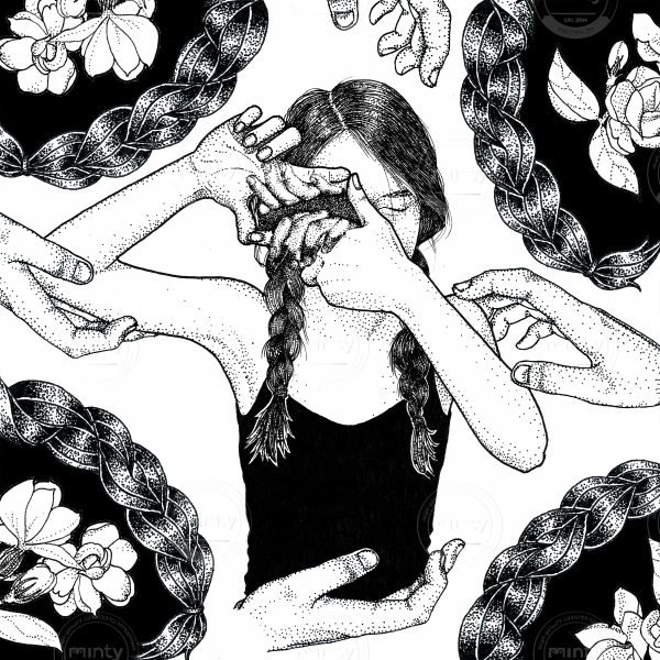 Girl with braids and black top looking with an eye shut with floral background