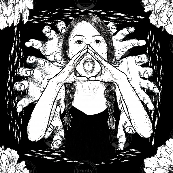 Girl with braids and black top shouting out loud with dark flower background