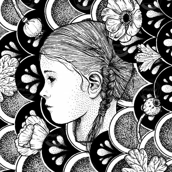 girl with braids with floral ornament background
