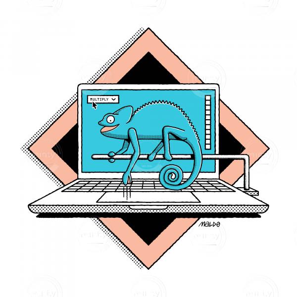 A turqoise chameleon sitting on a laptop using photoshop