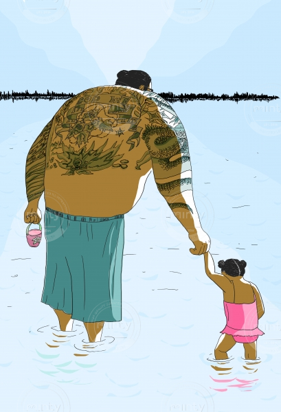 Big father bathes his little daughter in the lake