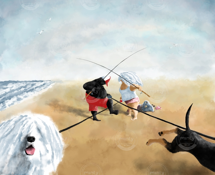 Man and Woman with their dogs are going to fishing on the ocean beach with their two dogs