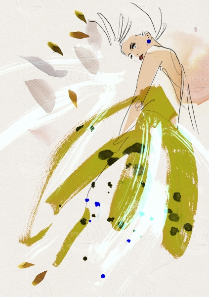 Woman in a green flying dress waiting in the wind