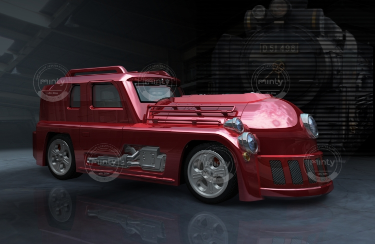 a high-power muscle car that looks like a locomotive. - illustration