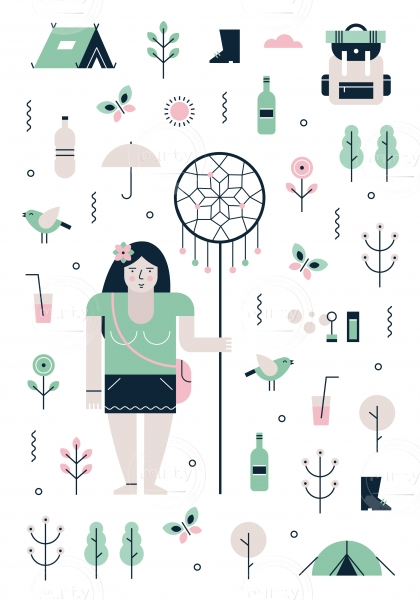 Festival girl with party, camping and nature icons
