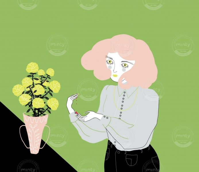 Pink-haired girl accidentally  scratching herself by a yellow rose thorn