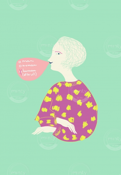 Woman blowing a big chewing-gum bubble