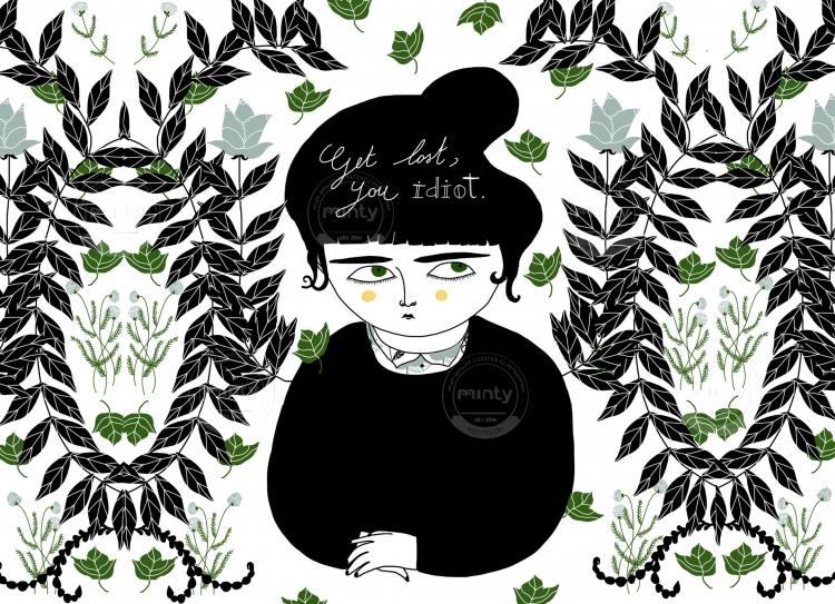 Girl among flowers wishing to be left alone