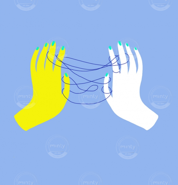 Yellow and white hand playing  a string game with a blue string.
