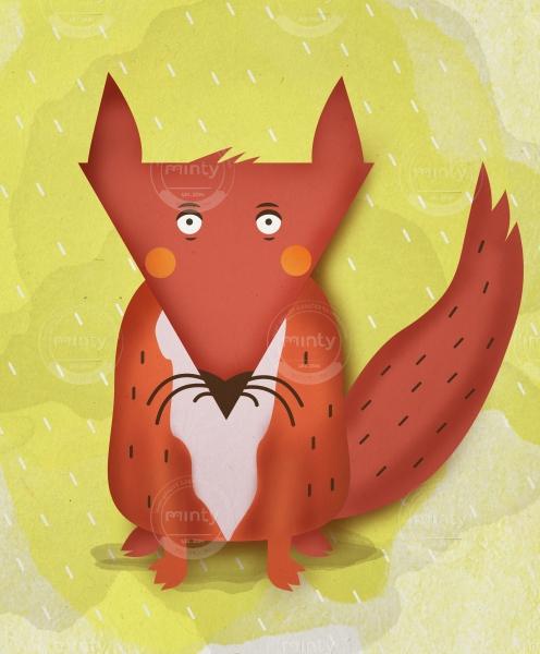 Fox sitting in the rain