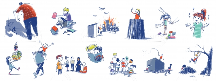 Various illustrations of children's rights