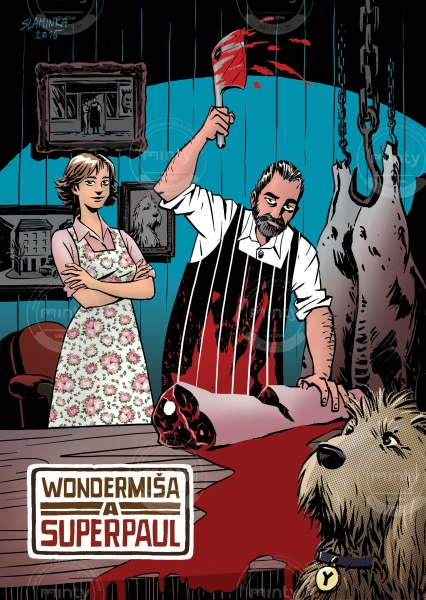 Butcher, his wife and dog are having fun
