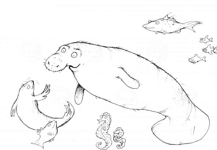 Cute friendship beetween seacow and sealion, looking friendly at each other