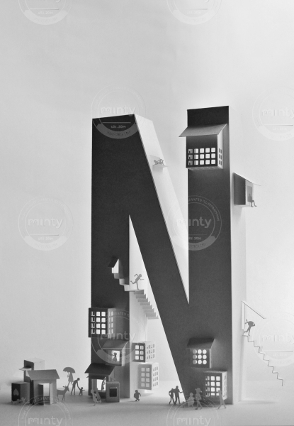 Letter N as a house